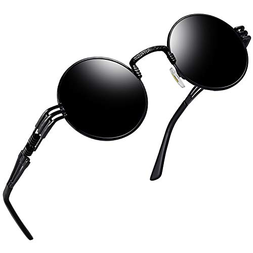 Joopin Polarized Round Sunglasses Women Men Circle Steampunk Sun Glasses (Black Fashion)