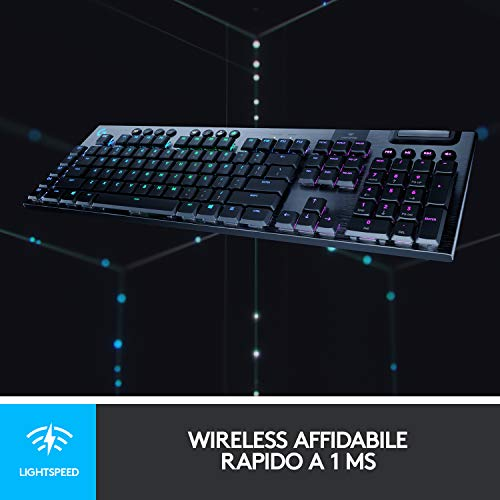 Logitech G 915 Lightspeed Wireless RGB Tastiera Gaming Meccanica, Tactile Switches, US Intl. Layout, Nero/Carbon