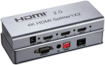 Expert Connect 1x2 HDMI Splitter | 2 Port | 1 in - 2 Out | Ultra HD 4K/2K @ 60Hz (60 fps), HDR | HDMI 2.0, HDCP 2.2 | Full HD/3D | 1080P | DTS | Dolby Digital | Direct TV | 18 Gbps Bandwidth