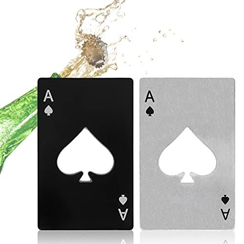 8 pezzi apribottiglie da poker, carta da gioco creativa personalizzata apribottiglie per birra in acciaio inox per regali di famiglia per feste di matrimonio (nero e argento)