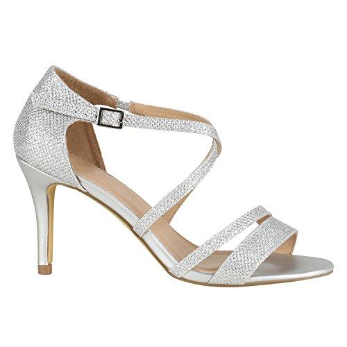 stiefelparadies Damen Lack Sandaletten T-Strap Metallic Riemchensandaletten Schuhe 144453 Silber Glitzer Carlet 36 EU Flandell