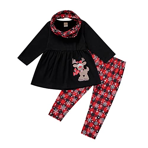 Kleinkind Weihnachten Kostüm Baby Mädchen Langarm Weihnachten Hirsch Bedrucktes T-Shirt Tops + Karierte Schneeflocke Bedruckte Hosen Latztuch Outfits Herbst Komfortabel Dreiteiliger Anzug