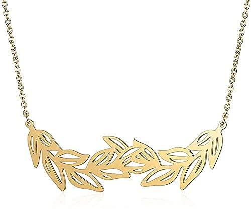 LBBYLFFF Collar de Moda único de Hoja Grande Collar de Acero Inoxidable Collares para Mujer Regalo joyería de Moda