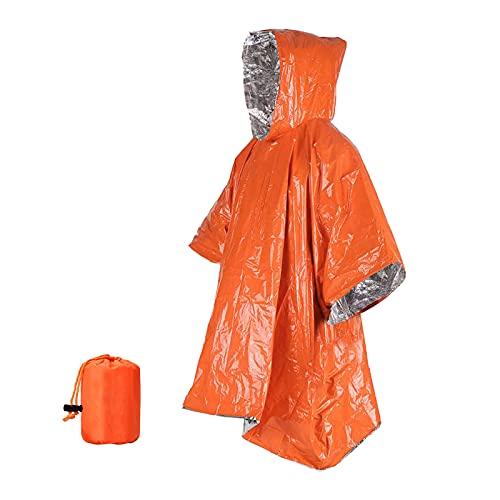Perfeclan Mantas de Emergencia y Poncho de Lluvia Equipo de Supervivencia Equipo de Camping Impermeable Manta Exterior-retiene el Calor Reflectante para una - Naranja Plata Bolsa