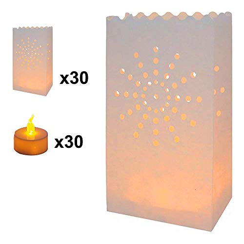 AceList 30-Set Luminary Bag with Candles Flameless Tea Lights, Fire Resistant Paper Decoration for Wedding, Gift for Mother's Day Ramadan, Star Design for Parties Birthday Garden Cafeteria Dinner