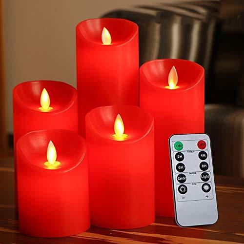 GAELLE SR-CN rote flammenlose Kerzen, Fernbedienung, LED-Wachskerze, kabelloser Timer, Kerzenlicht, Halloween, Weihnachten, religiöse Aktivitäten 75 x 150 mm.