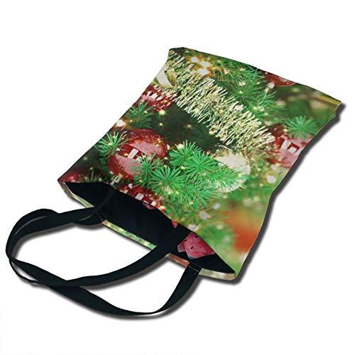 PengMin Año Nuevo María Campanas de árbol de Navidad para mujer de moda, multibolsillo, vintage, lona, bolsos de hombro, bolsos en miniatura, bolsos de la compra