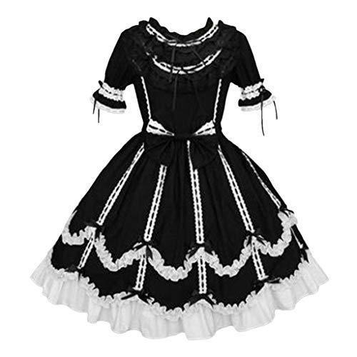 Anime Cosplay Französisch Maid Kostüm Japanisches Lolita Kleid Weihnachten Piebo Mädchens Gothic Karneval Fasching Partei Kleidung Abendkleid Mittelalter Kleider Lace Up Bowknot Rüschen Mini-Kleid
