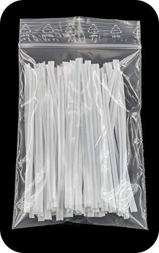 Faconet® 100 Stück Twist Ties Twistband Abschnitte in verschiedenen Längen verfügbar Kabelbinder Tütenverschluss Beutelverschluss, Bindedraht aus Kunststoff mit innenliegender Drahteinlage (100 mm)