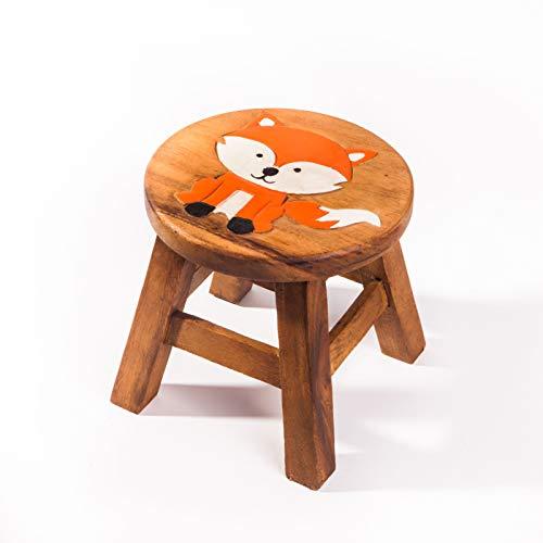 Kinderhocker, Schemel, Kinderstuhl massiv aus Holz mit Tiermotiv Fuchs 2, 25 cm Sitzhöhe für unsere Kindersitzgruppe