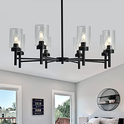 FGSADI Black 8-Light Large Chandelier,Vintage Clear Glass Ceiling...