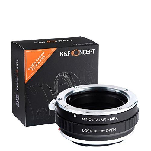 K&F Concept - Adaptador de Lentes, A-E, Compatibles con Objetivos Sony Mount A/KONICA/Minolta AF y Cuerpos de Cámara Sony Alpha NEX E-Mount Cámara Adaptador Sony Alpha NEX-7 NEX-6 NEX-5N NEX-5