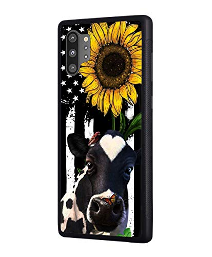 Galaxy Note 10 Plus/Note 10 Plus 5G Case, Slim Anti-Scratch Rubber Protective Case Cover for Samsung Galaxy Note 10 Plus (2019) - American Flag Sunflower and Cow