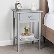 CONTEMPORARY GREY BEDSIDE TABLE: Store your bedside essentials in style with this contemporary bedside table from Christow. The bedside table is painted neutral grey to complement any colour scheme and features a shelf, drawer, and spacious top to gi...