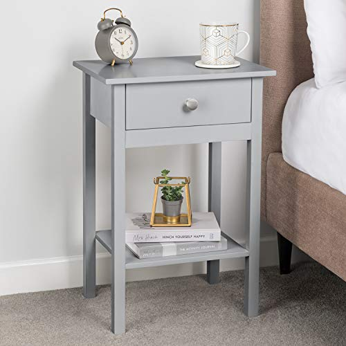 CHRISTOW Grey Bedside Table With Shelf & Drawer Bedroom Nightstand 60cm x 40cm x 30cm