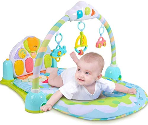 ZHJIUXINGZD Baby Play Mat Piano Gym, Kick and Play Gym, Baby Gym Jungle Alfombrillas Musicales para Regalo De Bebé, Blue