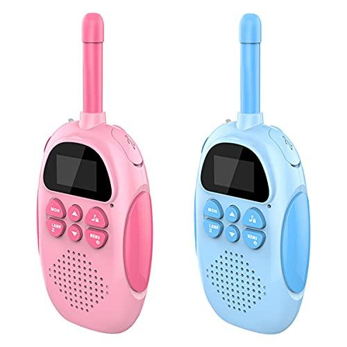 HIZQ Walkie Talkie Niños, Batería Incorporada De 1000 Mah Se Puede Cargar 3 KM Alcance Juguete con LCD Retroiluminado Linterna Juegos Infantiles para Aventuras Externas, Regalos Cumpleaños
