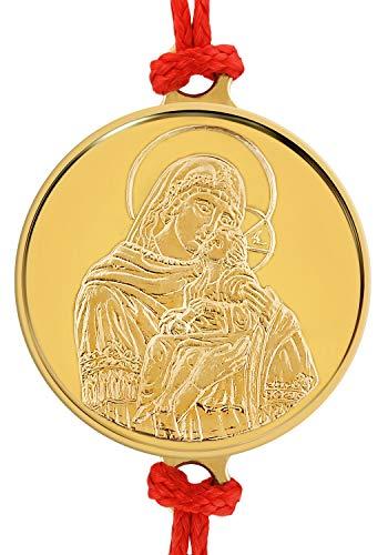 Pulsera artesanal de hilo rojo con delicada medalla de oro 18 Ktes religiosa Santísima Virgen María con el Niño Jesús 0.06 oz. Talla única con Sistema de Nudo corredizo.