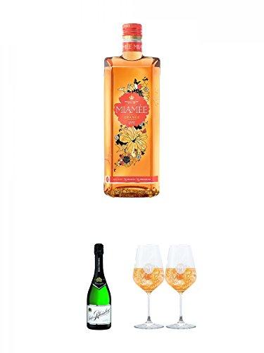 Miamee Orange Goldwasser Likör 0,7 Liter + Schloß Rheinberg Sekt - TROCKEN - Deutschland 0,75 Liter + Miamee Goldwasser Cocktail Gläser mit 5cl Eichstrich 2 Stück