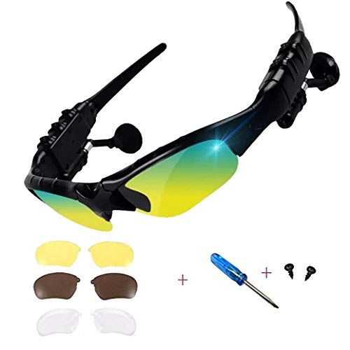 Wireless Bluetooth Sunglasses Anti-ray Stereo 4.1 Music Bluetooth Headphones for Men Support Both Headset and Hands-Free for All Kinds of Cell Phones (Black-Color)