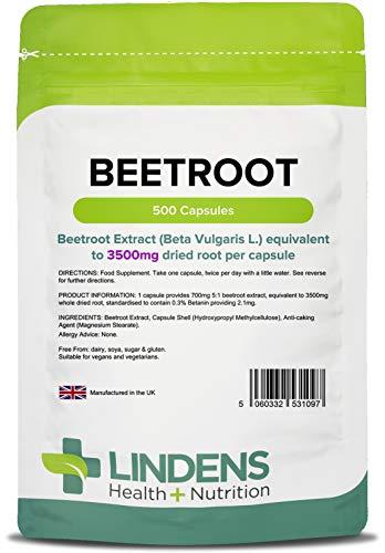 Lindens Remolacha superresistencia 3500 mg en cápsulas | 500 Paquete | Una fuente de nitratos dietéticos en una cápsula de liberación rápida y fácil de tragar
