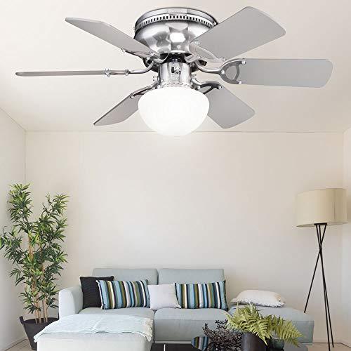 etc-shop Decken Ventilator Vor-Rücklauf Zugschalter Lüfter Lampe Flügel wendbar im Set inkl. LED Leuchtmittel