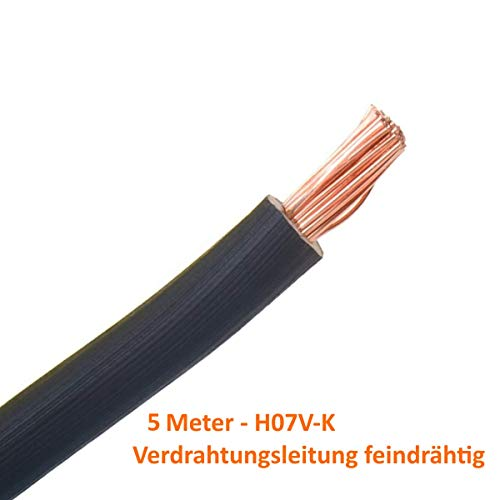 Verdrahtungsleitung H07 V-K 10 mm² - schwarz - 5 m // flexibles Kabel Einzelader Aderleitung