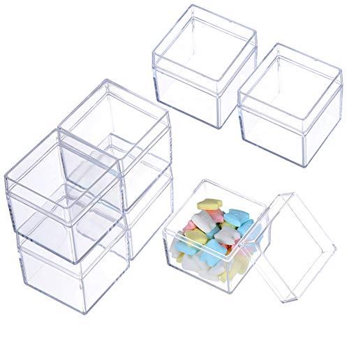 Aufbewahrungsboxen für Perlen, 12 Stück, kleine Kunststoff-Box mit Scharnierdeckel, 5,1 x 5,1 cm, quadratische transparente Behälter für Pillen, Kräuter, kleine Perlen