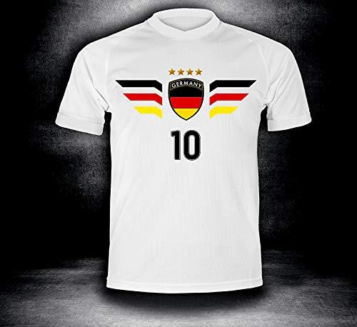 Deutschland Trikot 2018 mit GRATIS Wunschname + Nummer im EM WM Weiss Typ #DE4t - Geschenke für Kinder Erw. Jungen Baby Fußball T-Shirt Bedrucken