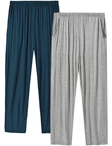 MoFiz Herren Pyjamahose Modal Schlafanzughose Lang Schlafhose Winter mit Bündchen 2 Pack Spezialblau/Hellgrau DE 60/62 US 2XL
