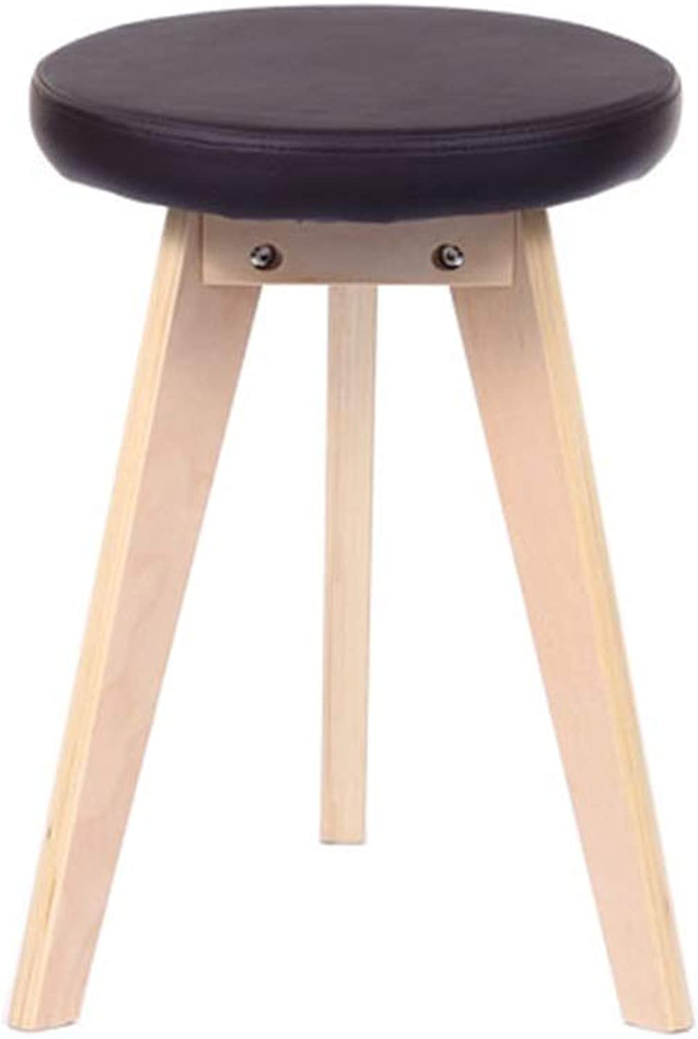 Wood Stool, Leather Fashion Creative Round Stool, Dressing Stool, Two colors (color   White)