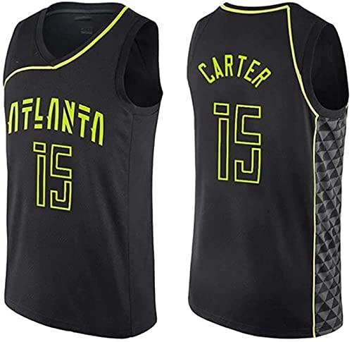 ZMIN Baloncesto para Hombre NBA Jerseys Carter # 15 Atlanta Hawks Malla Transpirable Edición de Tela Unisex sin Mangas Camiseta,Negro,XL