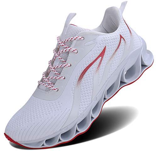 ALLCHAR Herren Sneaker Sportschuhe Outdoorschuhe Laufschuhe Leichtathletikschuhe Neutral- und Stra?enlaufschuhe Fitness Laufschuhe Atmungsaktiv Rutschfeste Rutschfeste Mode Freizeitschuhe, Weiß, 42 EU