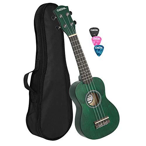 Cascha Soprano Ukulele Verde, pequeña guitarra hawaiana para niños y adultos con bolsa, 3 picos y cuerdas Aquila Ukulele