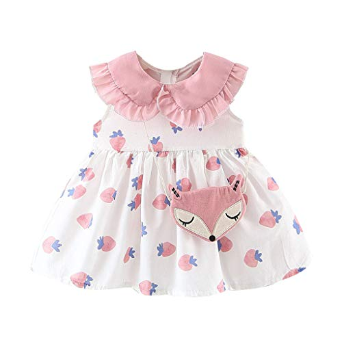 heavKin-Clothes 6 Months-3 Years Children's Kids Baby Girls Fashion Flying Sleeve Frill Doll Collar Strawberry Printed Skirt Dress + Satchel (Pink, 6-12 Months)