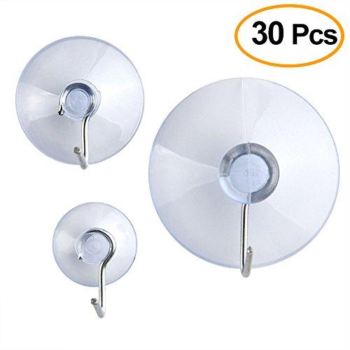 Kuuqa 30 Peices kunststof zuignap zuignappen met haken,3 Maat 45 mm, 30 mm, 20 mm in een PP-doos (Transparant)