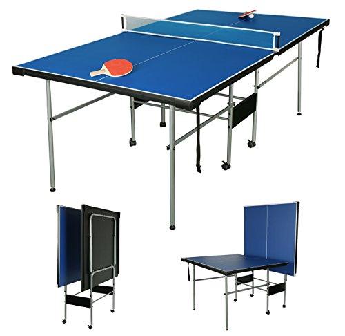 hlc 206 * 114.5 * 76CM 7FT Table Tennis Table Junior 3/4 Size Folding Table Tennis Table Kids Ping Pong Table with Net/Balls/Bats Folding Legs
