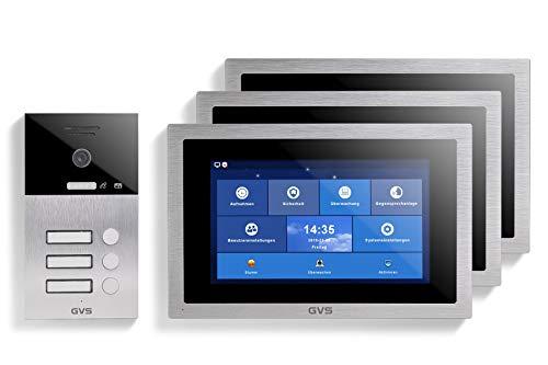 GVS AVS1100U - Videoportero IP de 4 cables, estación de puerta empotrada IP65, monitor de 3 x 10 pulgadas, App, cámara HD de 120 °, función de apertura de puerta, 32 GB de memoria, conmutador PoE, 3 unidades de casa familiar
