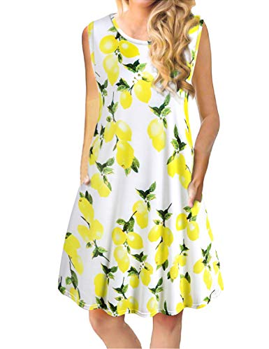 Tanst Women Summer Sleeveless Damask Print T-Shirt Dress with Pockets(S-3XL) (X-Large, Lemon)