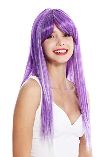 WIG ME UP - VK-8-F11-60 Perruque dame longue lisse longue frange raie violet blanc mèches