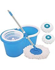 Zelenor 360 Degree Self Spin Wringing Floor Cleaning Bucket Mop with 2 Super Absorbers and Plastic Spinner, Medium, Multicolour