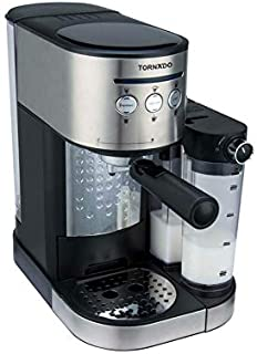 Tornado TCM-14125 Espresso Machine with Milk Tank Frother, 15 Bar - Black and Silver