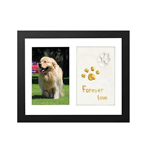 ONE WALL Marco de Fotos para Pared y de Sobremesa para Mascotas, Marcos de Fotos de Madera con Tampón de Arcilla para Huellas de Perros y Gatos, Decoración Conmemorativa para Hogar, Negro