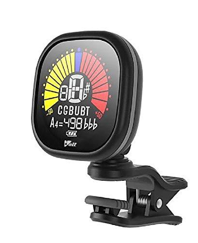 VOLT Clip-Tuner RCT-5000 - Schwarz - Stimmgerät für Gitarre, Bass, Ukulele, Baritone - Aufladbar über USB