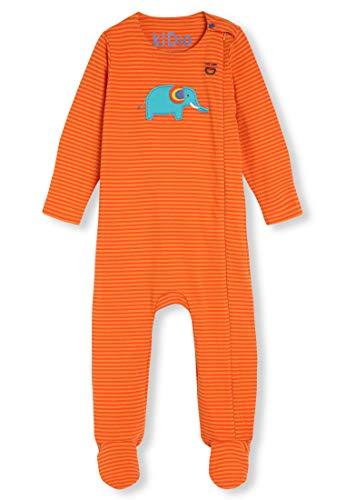 Algodón orgánico con Aplique - Bebé Niña Niños pequeños - Pelele para Dormir - Pijama Entero (0-24 Meses) (6M (3-6 Meses), Elefante Naranja)