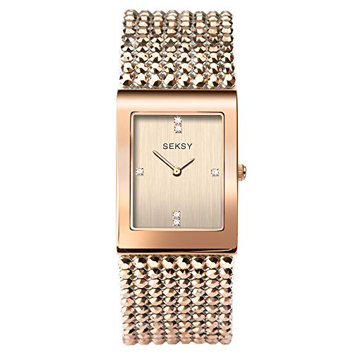 Women's Shimmer with Metallic Rose Gold Swarovski Crystal Bracelet Watch, Water Resistant, Extra Clasps, Seksy Collection by Sekonda (Rose Gold Shimmer)