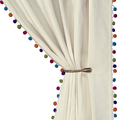 LORDTEX Multi Color Pom Pom Curtains for Kids Room - Thermal Insulated Curtains Noise Reducing Light Blocking Rod Pocket Window Drapes for Boys and Girls Bedroom, 52x95 inch, Vanilla, Set of 2 Panels