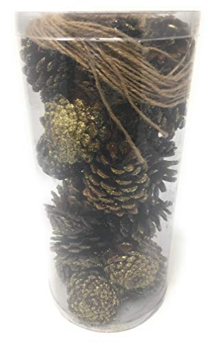 24 Gold Glitter Pine Cones, Christmas Tree/Room Decorations