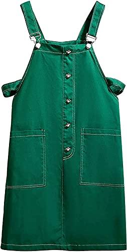 Trieskull Las Mujeres Casuales Pantalones Ajustable Correas Vestido de Falda Midi Vestido con Bolsillos (Green,6XL)