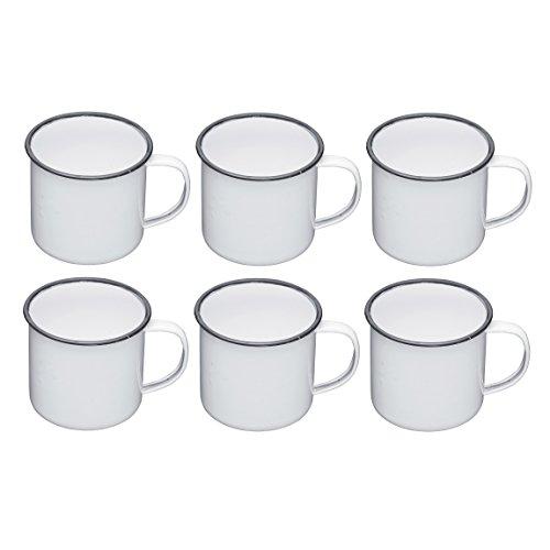 Kitchen Craft Emaille Tassen, 550 ml, Emailliert, weiß/grau, 12.5 x 10 x 9 cm, 6